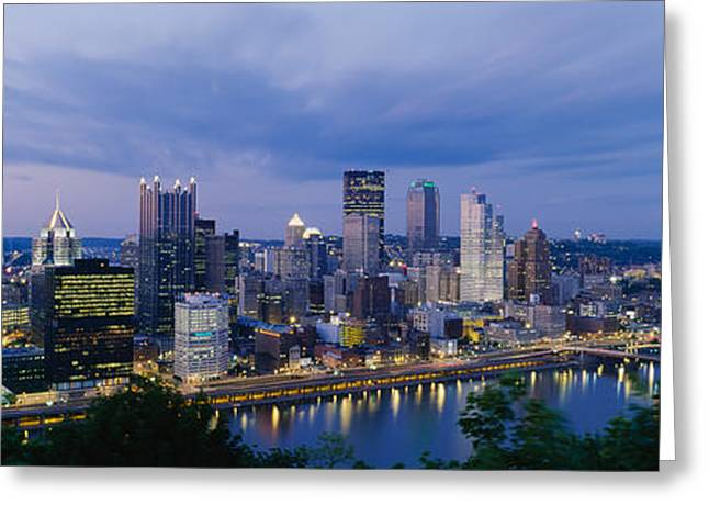 Buildings Lit Up At Night, Monongahela Greeting Card by Panoramic Images