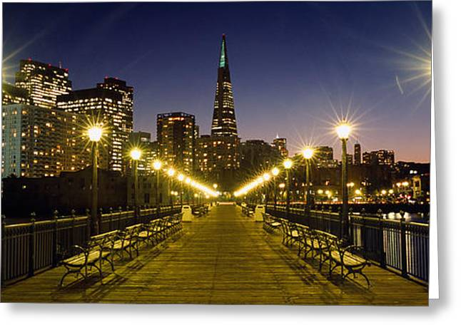 Buildings Lit Up At Night, Transamerica Greeting Card by Panoramic Images