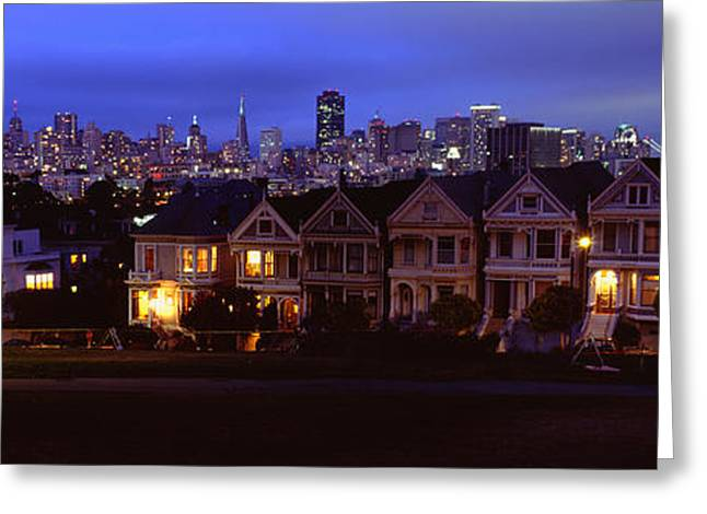 Buildings Lit Up Dusk, Alamo Square Greeting Card