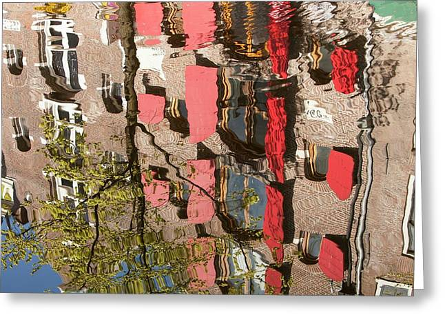 Buildings Reflected In Canal Greeting Card by Ashley Cooper