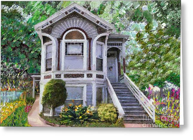 Greeting Card featuring the painting Alameda 1895 Queen Anne by Linda Weinstock