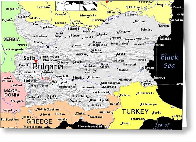 Bulgaria Exotic Map Greeting Card