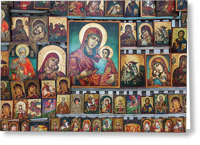 Bulgaria, Sofia, Souvenir Icons For Sale Greeting Card by Walter Bibikow