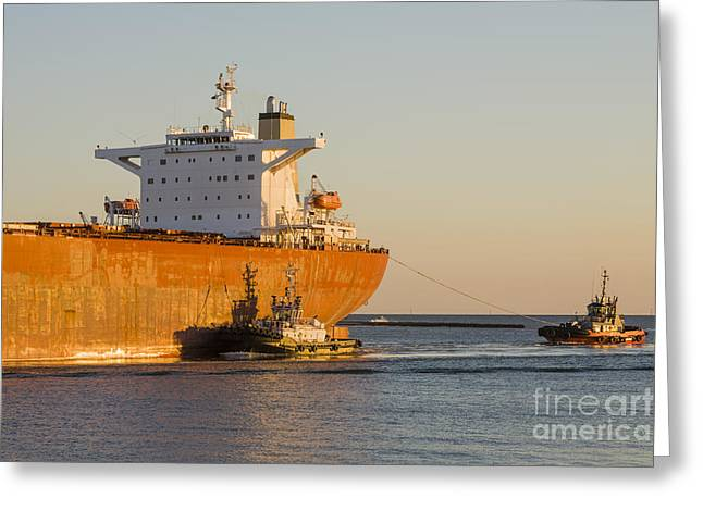 Bulk Carrier Being Guided By Tugs Close Up On Bridge Greeting Card by Colin and Linda McKie