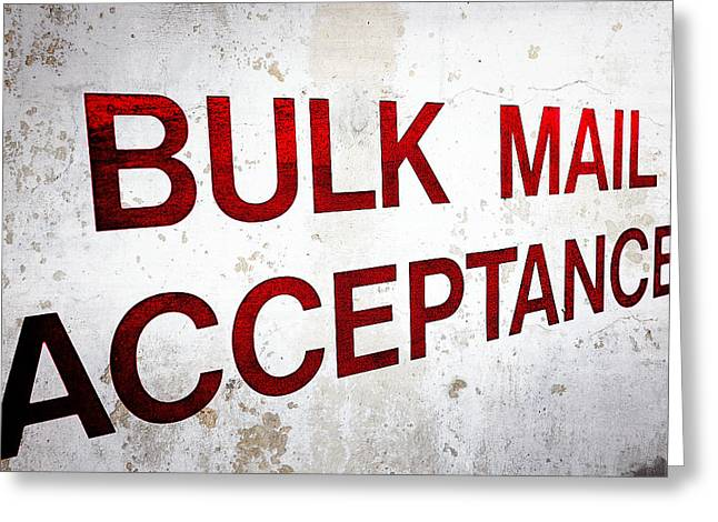 Bulk Mail Acceptance Greeting Card by Sennie Pierson