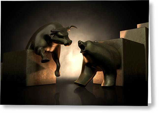 Bull And Bear Market Statues Greeting Card by Allan Swart