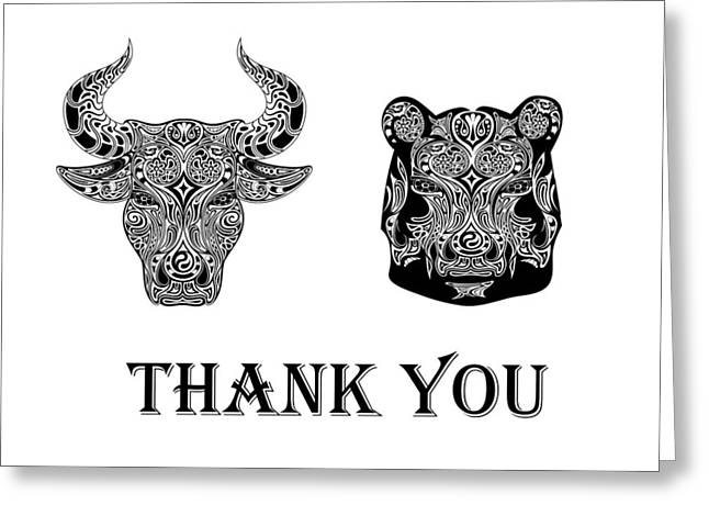 Wallstreet greeting cards page 5 of 5 fine art america bull and bear thank you greeting card m4hsunfo