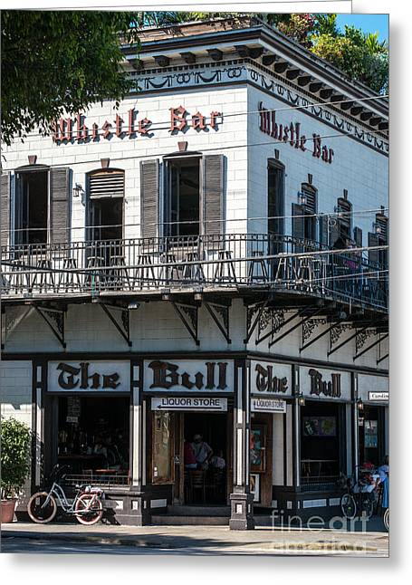 Bull And Whistle Key West  Greeting Card by Ian Monk