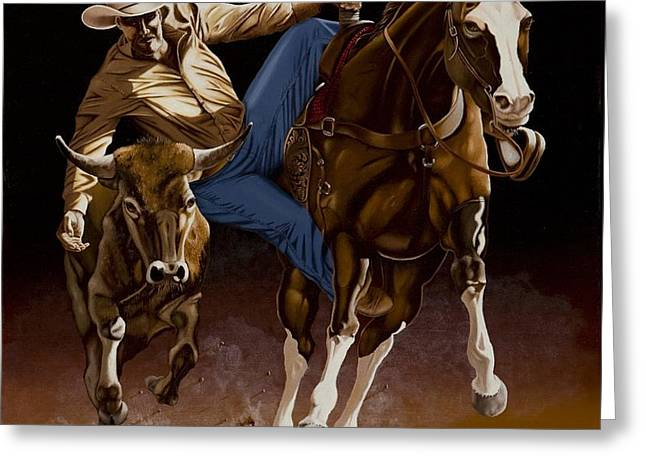 Bull Doggin' Greeting Card by Hugh Blanding