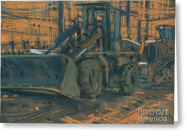 Bull Dozer Greeting Card by Donald Maier