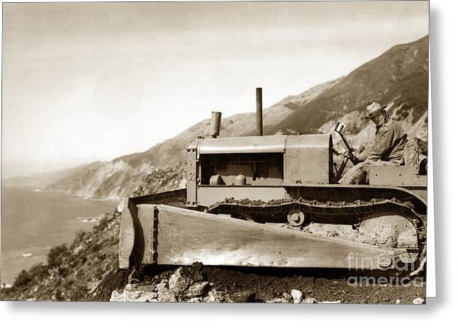 Bull Dozer Road Construction On Highway One Big Sur Circa 1930 Greeting Card by California Views Mr Pat Hathaway Archives