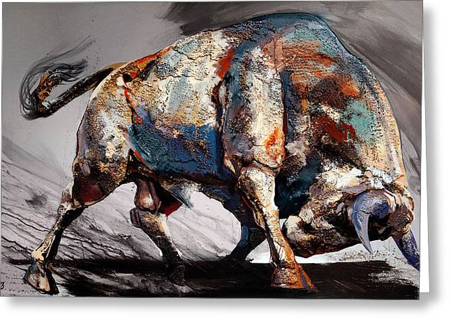 Bull Fight Back Greeting Card by Dragan Petrovic Pavle