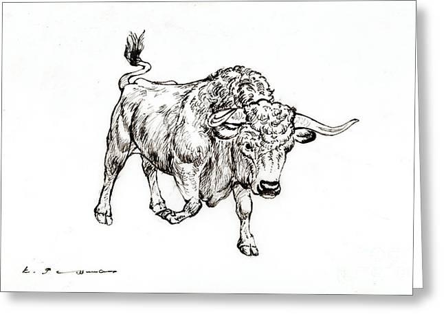 Bull Greeting Card by Kurt Tessmann