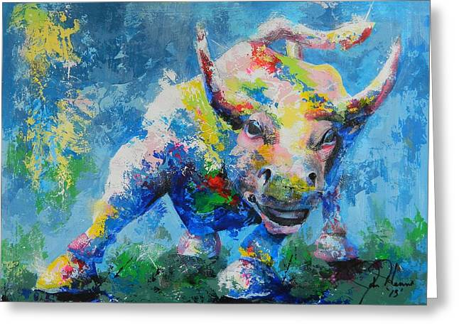 Western Abstract Greeting Cards - Bull Market X Greeting Card by John Henne