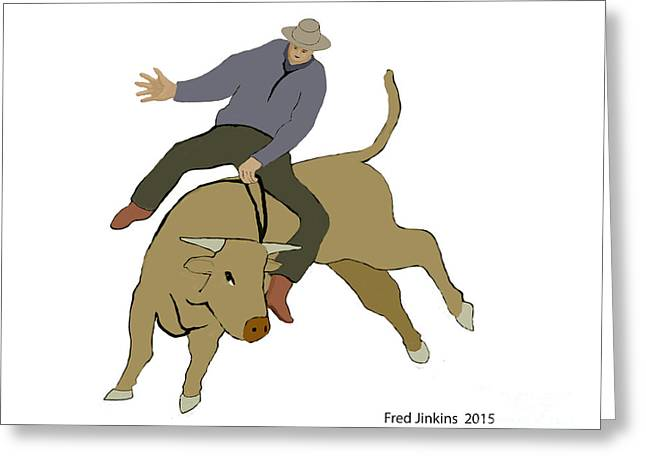 Bull Riding Greeting Card by Fred Jinkins