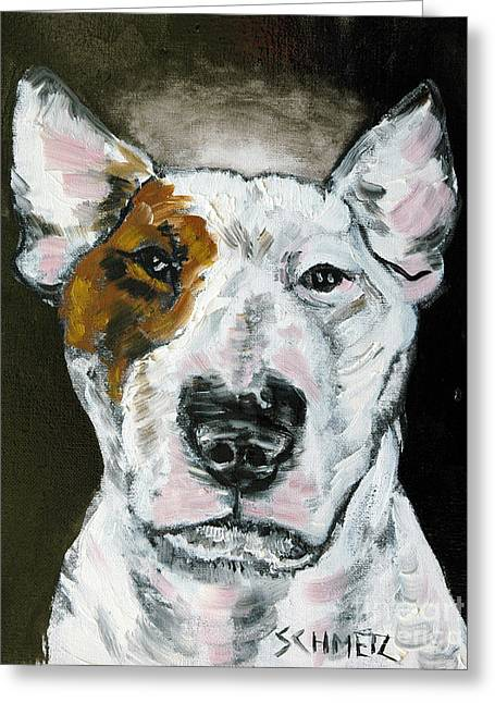 Bull Terrier Angel Greeting Card by Jay  Schmetz