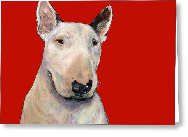 Bull Terrier On Red Greeting Card