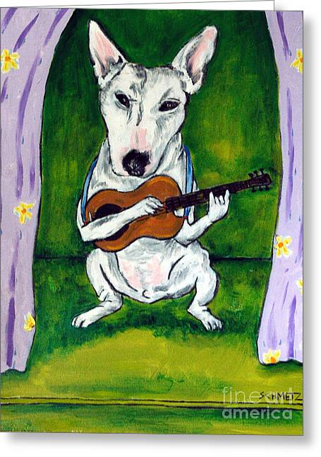 Bull Terrier Playing Guitar Greeting Card by Jay  Schmetz