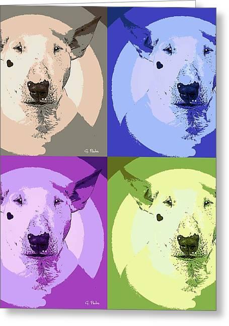 Bull Terrier Pop Art Greeting Card by George Pedro