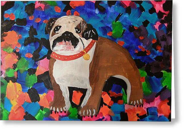 Greeting Card featuring the painting Bulldog Abstract by Ryan Griswold