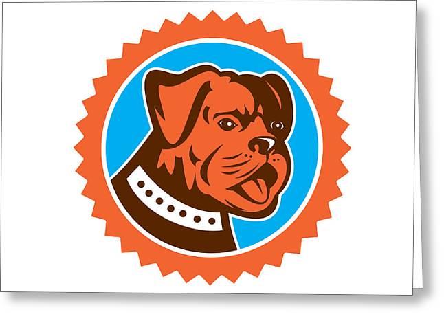 Bulldog Dog Mongrel Head Mascot Rosette Greeting Card
