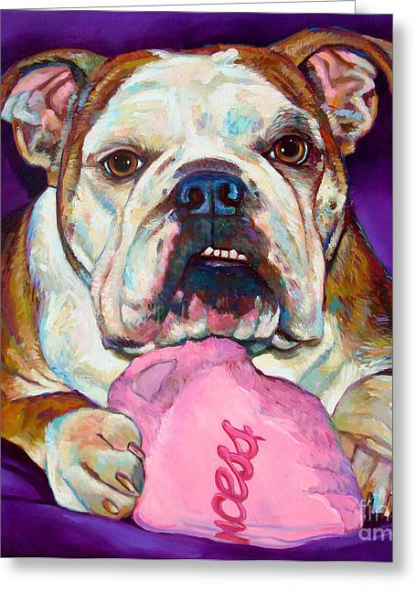 Greeting Card featuring the painting Bulldog Princess by Robert Phelps