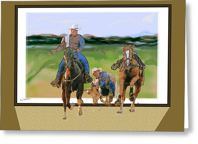 Bulldogging Greeting Card