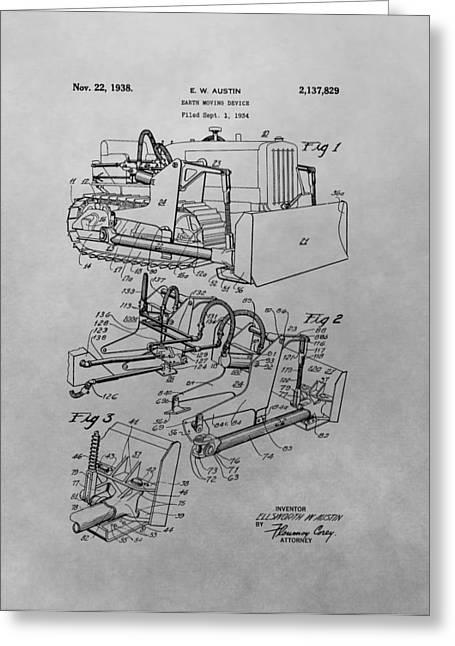 Bulldozer Patent Drawing Greeting Card