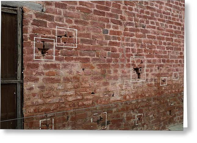 Bullet Holes Outlined In White Paint Greeting Card by Panoramic Images