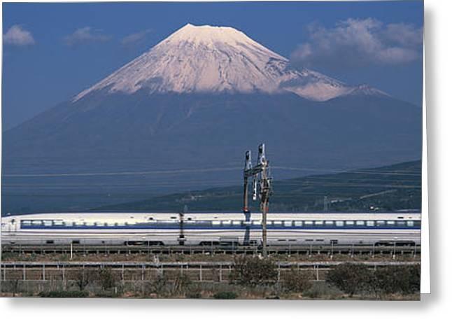 Bullet Train Mount Fuji Japan Greeting Card by Panoramic Images