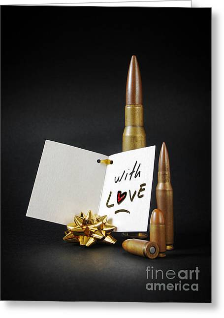 Bullets For You Greeting Card by Carlos Caetano