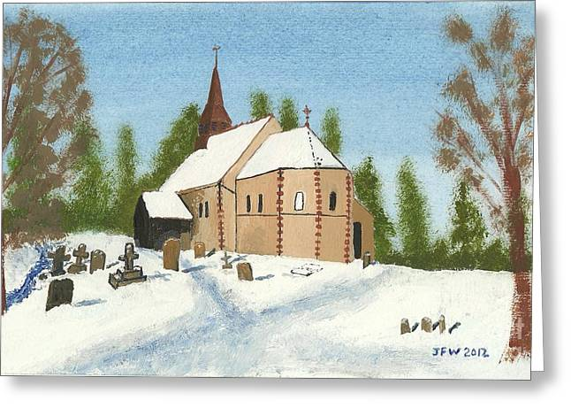 Greeting Card featuring the painting Bulley Church by John Williams