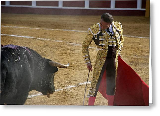 Bullfighter Manuel Ponce Performing During A Corrida In The Bullring Greeting Card