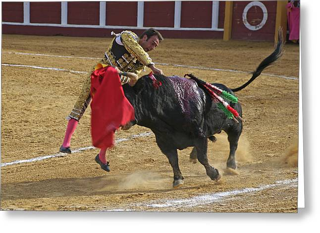 Bullfighter Manuel Ponce Performing The Estocada To Kill The Bull Greeting Card by Perry Van Munster