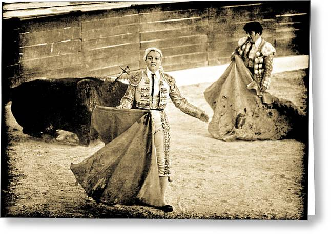 Bullfighting Blond Greeting Card
