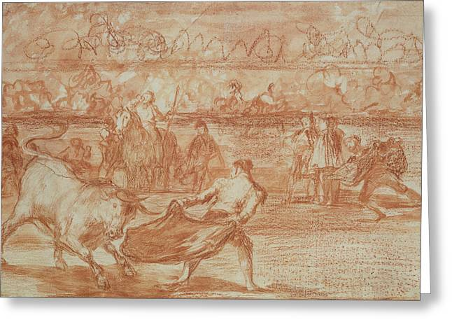 Bullfighting Greeting Card by Goya