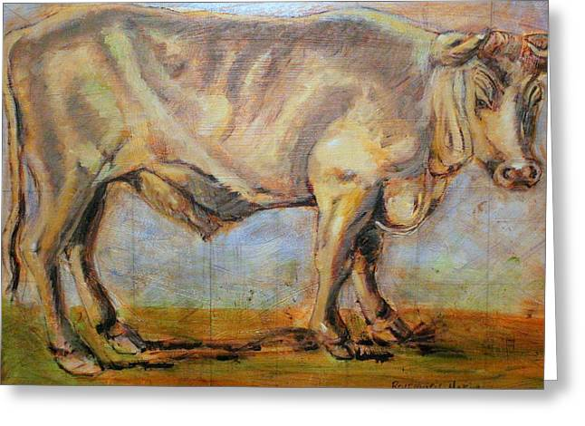 Greeting Card featuring the painting Bullock by Rosemarie Hakim