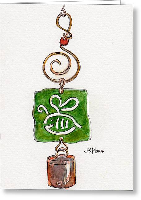 Greeting Card featuring the painting Bumble Bee Wind Chime by Julie Maas