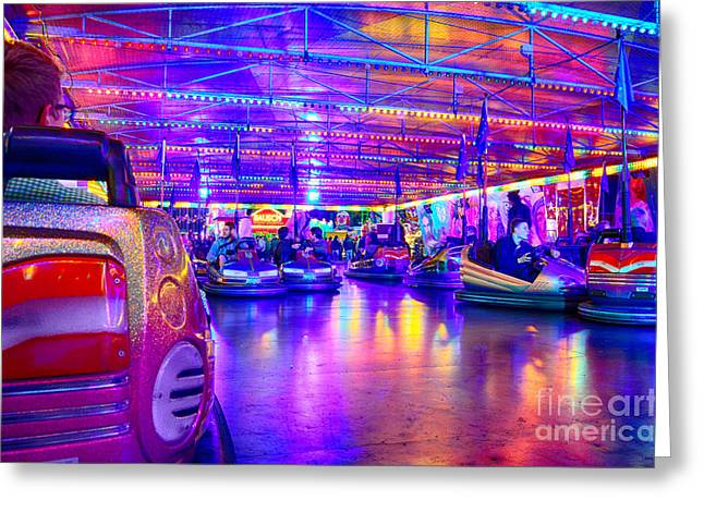 Bumper Cars At The Octoberfest In Munich Greeting Card by Sabine Jacobs
