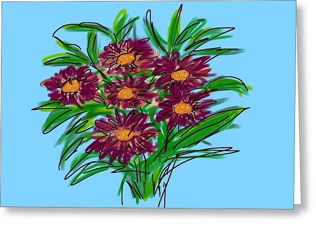 Greeting Card featuring the digital art Bunch Of Daisies by Christine Fournier