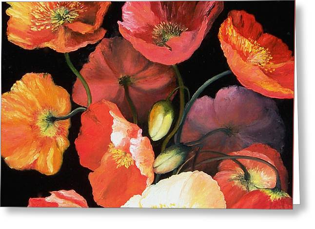 Bunch Of Poppies Greeting Card by Jan Matson