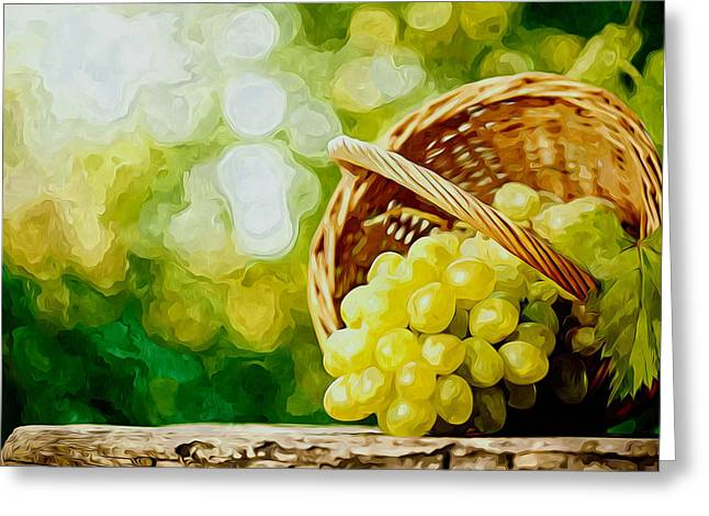 Background Greeting Cards - Bunch of ripe white grapes in a wicker basket Greeting Card by Lanjee Chee
