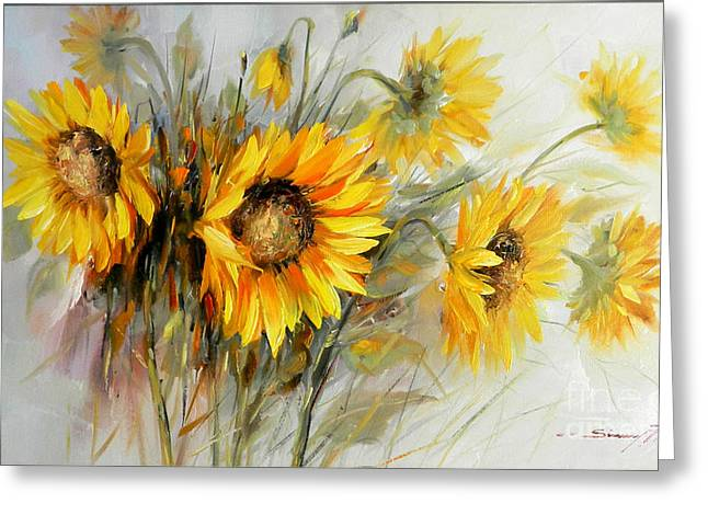 Bunch Of Sunflowers Greeting Card by Petrica Sincu