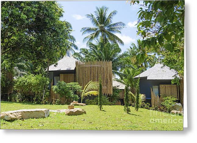 Bungalows In Tropical Resort Asia Greeting Card by Jacek Malipan