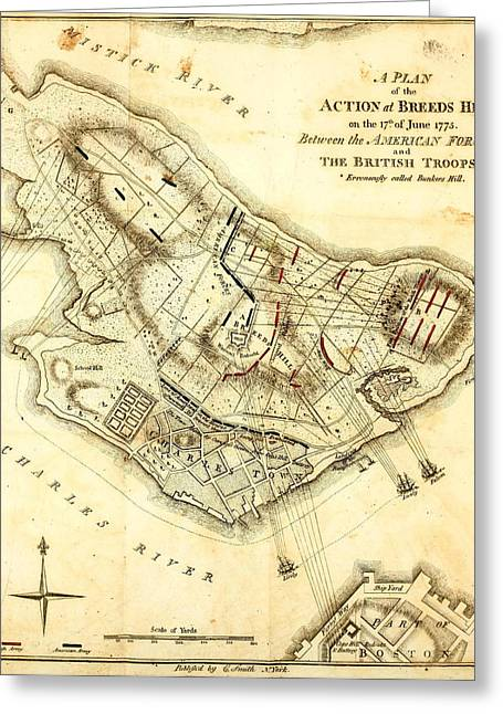 Bunker Hill - Map Greeting Card by Charlie Ross