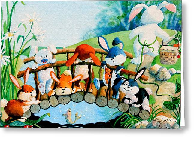 Bunnies On A Bridge Greeting Card by Hanne Lore Koehler