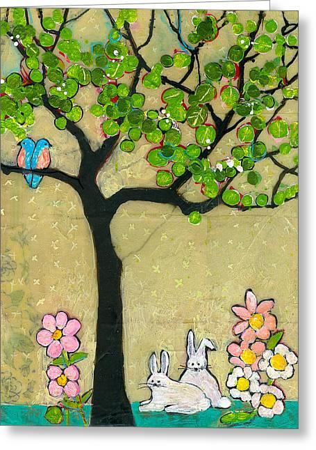 Bunnies And Birds Tree Greeting Card by Blenda Studio