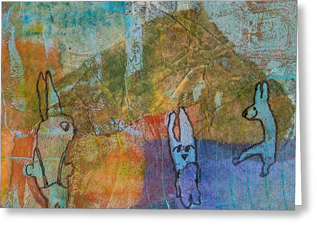 Greeting Card featuring the mixed media Bunny Ballet by Catherine Redmayne