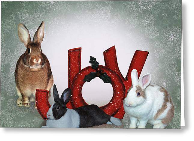 Bunny Christmas Joy Greeting Card by Diane Bell