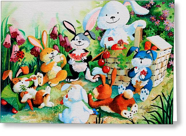Bunny Picnic Greeting Card by Hanne Lore Koehler